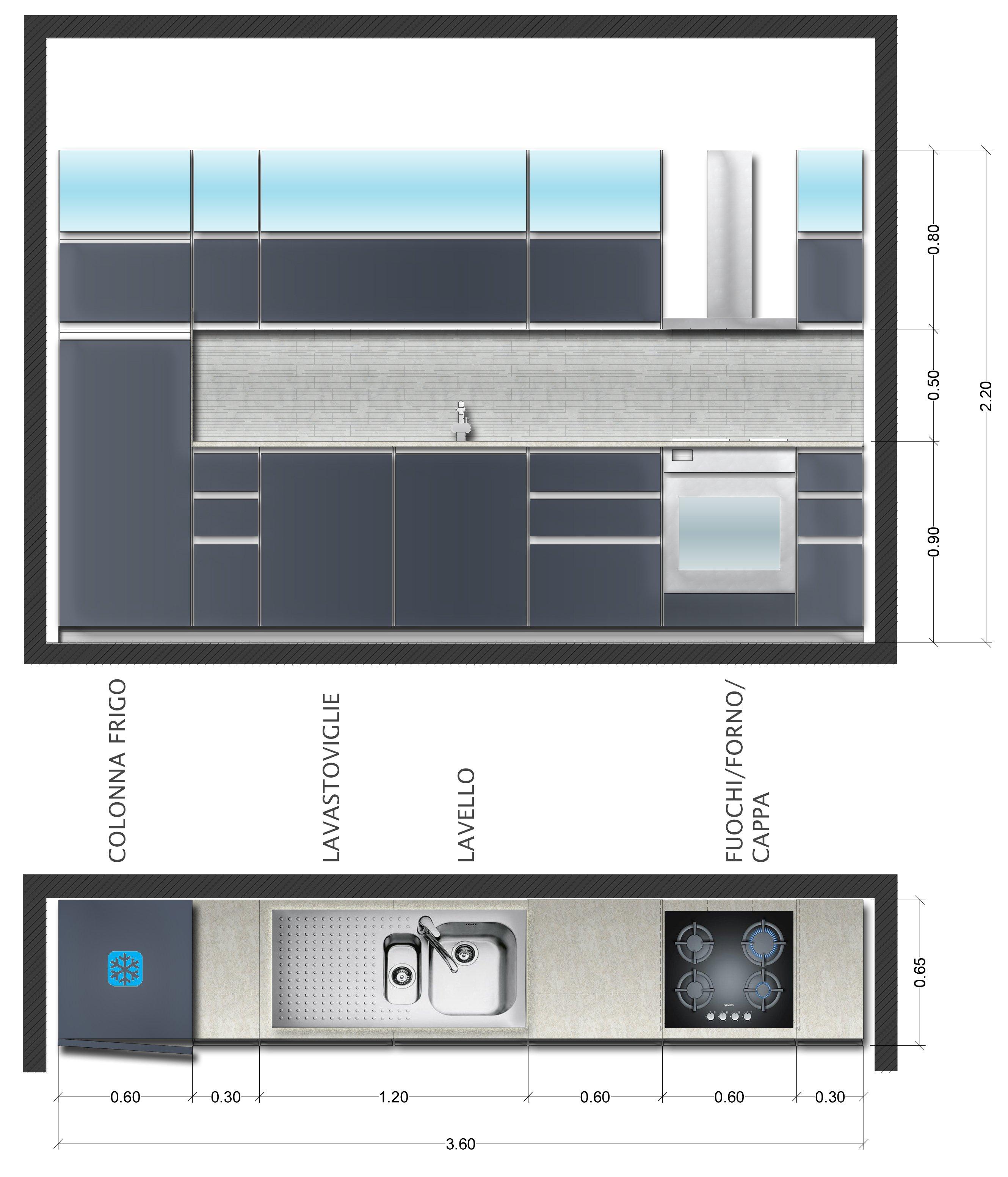 Disposizione tipo di una cucina minima di 360 centimetri